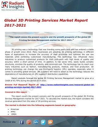 Global 3D Printing Services Market Report 2017-2021