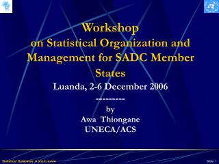 Workshop  on Statistical Organization and Management for SADC Member States Luanda, 2-6 December 2006 --------- by  Awa