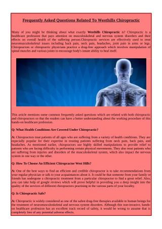 Westhills Chiropractic