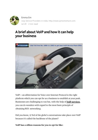 A brief about VoIP and how it can help your business