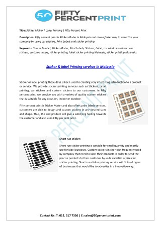 Sticker Maker   Label Printing   Fifty Percent Print