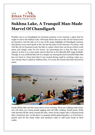 Sukhna Lake, A Tranquil Man-Made Marvel Of Chandigarh