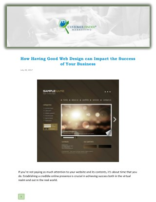 How Having Good Web Design can Impact the Success of Your Business