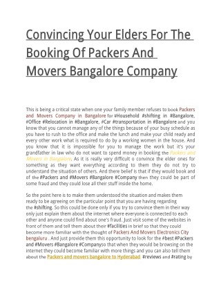 Convincing Your Elders For The Booking Of Packers And Movers Bangalore Company
