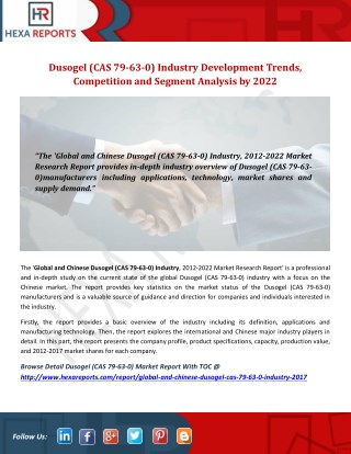 Dusogel (CAS 79-63-0) Industry Development Trends, Competition and Segment Analysis by 2022