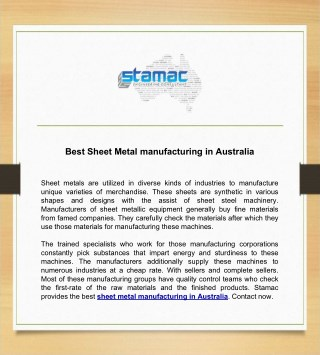 Best Sheet Metal manufacturing in Australia