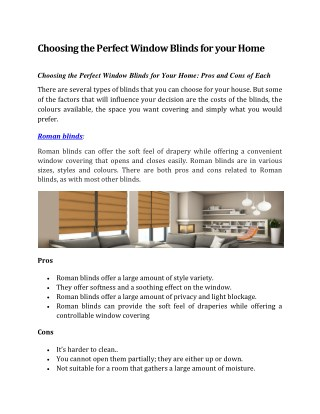 Choosing the Perfect Window Blinds for your Home