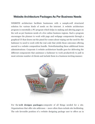 Website Architecture Packages As Per Business Needs