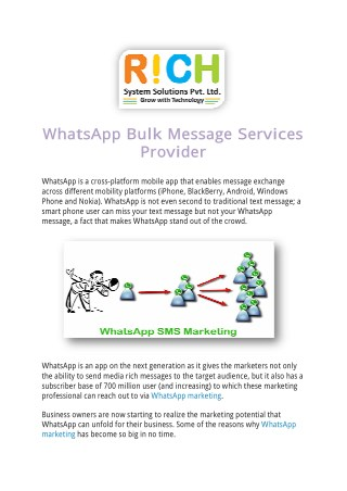 WhatsApp Bulk Message Services Provider