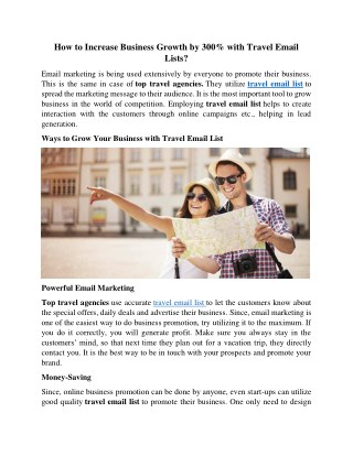 How to Increase Business Growth by 300% with Travel Email Lists?