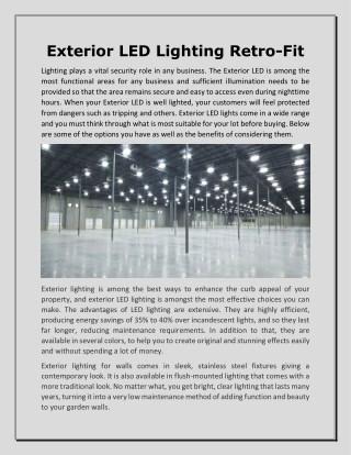 Exterior LED Lighting Retro-Fit