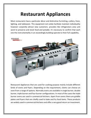 Restaurant appliances