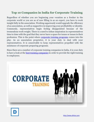 Top 10 Companies in India for Corporate Training