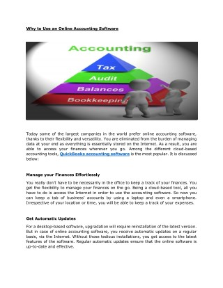 Why to Use an Online Accounting Software