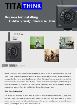 Reasons for installing Hidden Security Cameras in Home