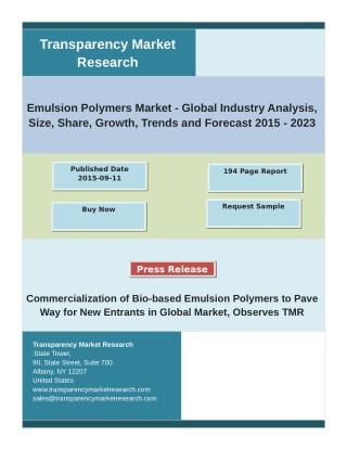 Emulsion Polymers Market Analysis by Segments, Size and Forecast 2015 - 2023