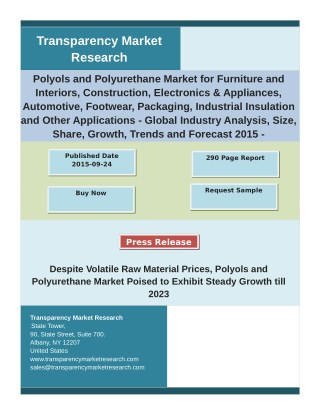 Polyols and Polyurethane Market Analysis by Segments, Size and Forecast 2015 - 2023