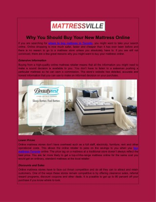 Why You Should Buy Your New Mattress Online
