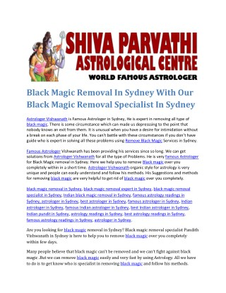 Black Magic Removal In Sydney With Our Black Magic Removal Specialist In Sydney