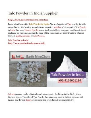 Talc Powder in India Supplier