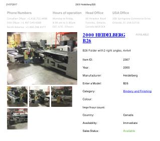 Buy Used 2000 B26 HEIDELBERG Printing Press Machine