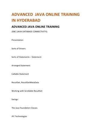 Advanced java Online Training hyderabad