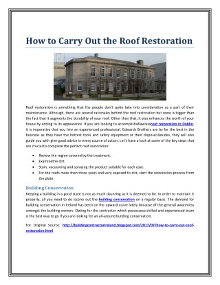 How to Carry Out the Roof Restoration