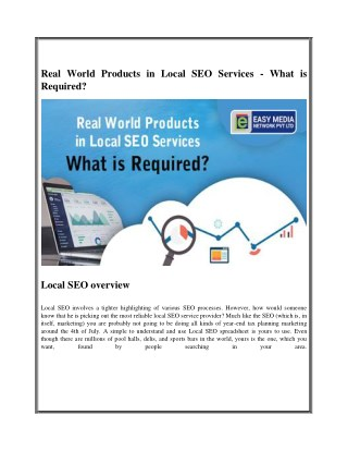 Real World Products in Local SEO Services - What is Required?