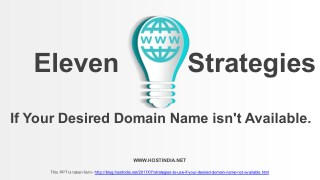 Find alternative way if your desired domain name is not available.