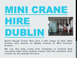 Mini Crane Hire Dublin