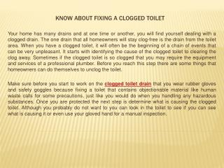 Know about Fixing a Clogged Toilet