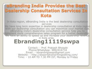 eBranding India Provides the Best Dealership Consultation Services In Kota