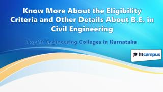Know More About the Eligibility Criteria and Other Details About B.E. in Civil Engineering