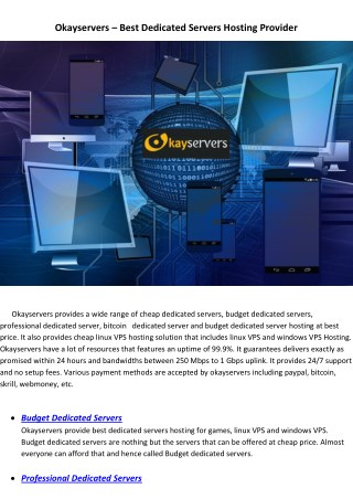 Okayservers – Best Dedicated Servers Hosting Provider