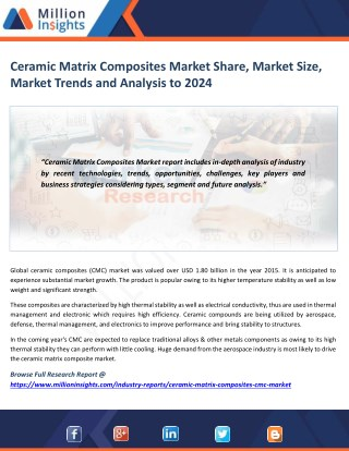 Ceramic Matrix Composites Market Driver, Trends, Applications & Business Strategy Forecast 2024