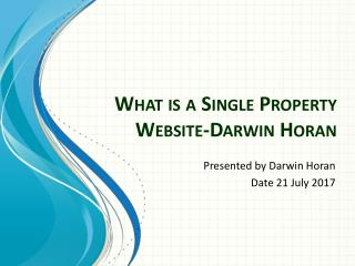 What is a Single Property Website-Darwin Horan