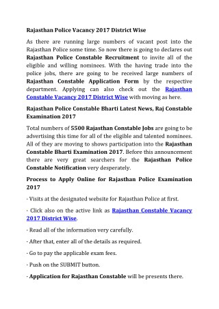 Rajasthan Police Constable Bharti 2017 Examination