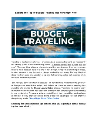 Explore The Top 10 Budget Traveling Tips Here Right Now!