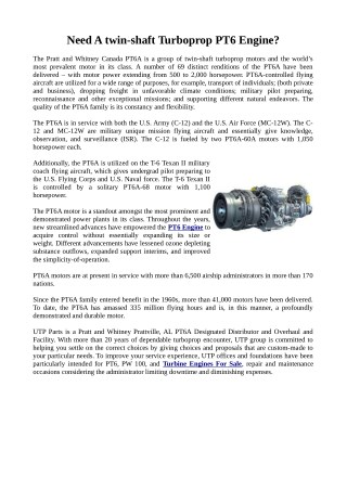 Need Highest Quality Parts of PT6 Engine?