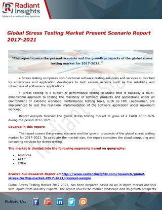 Global Stress Testing Market Report To Grow At A CAGR Of 11.87% To 2017-2021