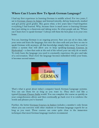 Where Can I Learn How To Speak German Language?