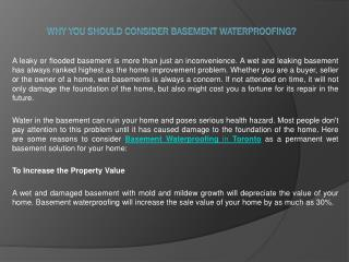 Why you Should Consider Basement Waterproofing?