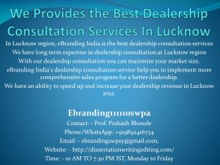 We Provides the Best Dealership Consultation Services In Lucknow