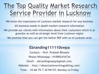 The Top Quality Market Research Service Provider in Lucknow