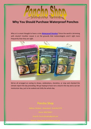Why You Should Purchase Waterproof Ponchos