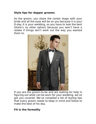 Style tips for dapper grooms