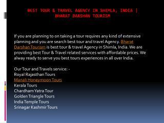 Best Tour & Travel Agency in Shimla, India | Bharat Darshan Tourism