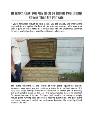 pool pump covers for sale