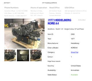 Buy Used 1977 KORD 64 HEIDELBERG Printing Press Machine