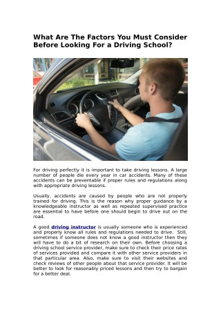 What Are The Factors You Must Consider Before Looking For a Driving School?